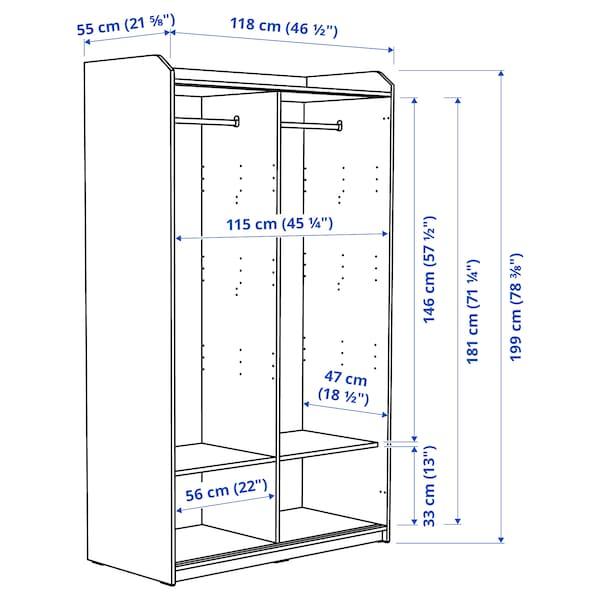 HAUGA Wardrobe with sliding doors, white, 118x55x199 cm