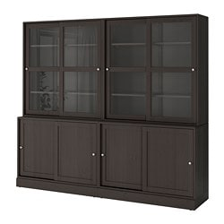 HAVSTA storage comb w sliding glass doors, dark brown