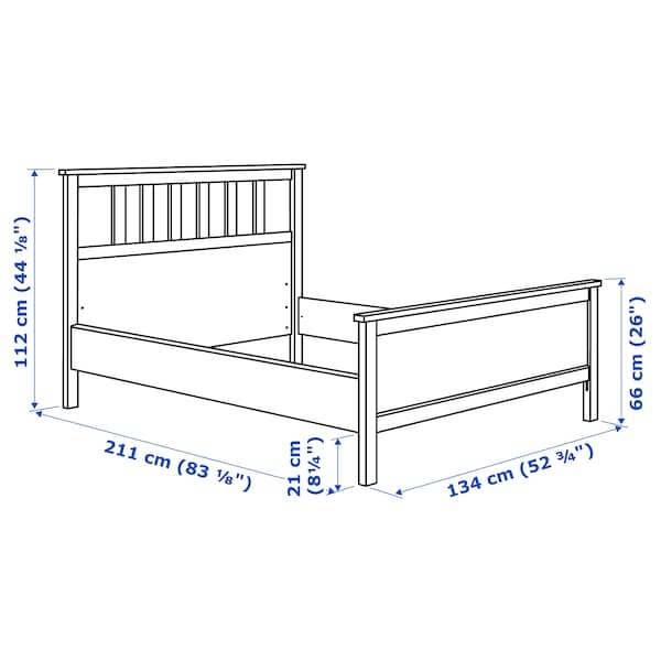 HEMNES Bed frame, black-brown/Lönset, 120x200 cm
