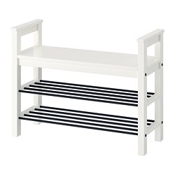 HEMNES bench with shoe storage, white