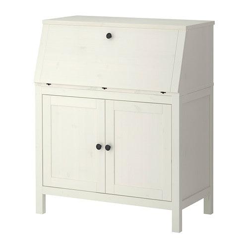 Hemnes bureau white stain ikea for Bureau en pin ikea