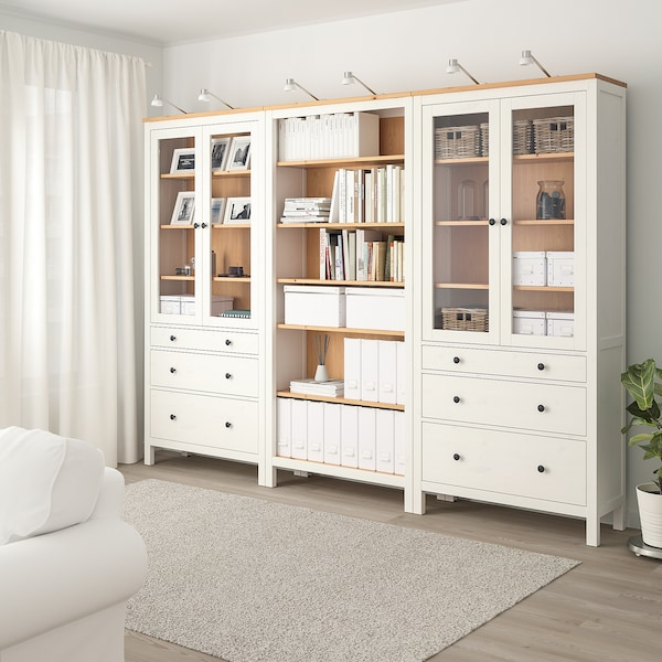 HEMNES Storage combination w doors/drawers, white stained/light brown, 270x198 cm