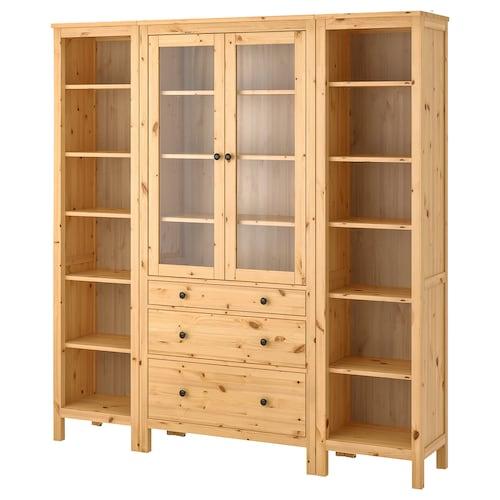 HEMNES storage combination w doors/drawers light brown/clear glass 188 cm 37 cm 198 cm