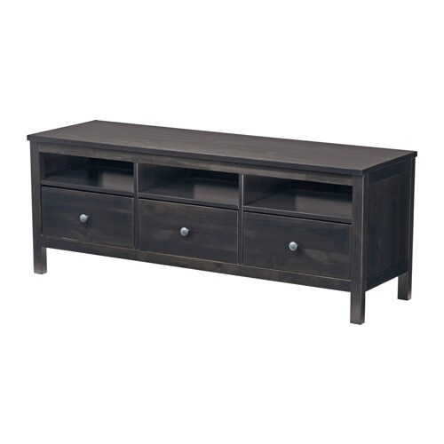 HEMNES TV bench IKEA Solid wood has a natural feel.  Open compartments for your DVD player, etc.