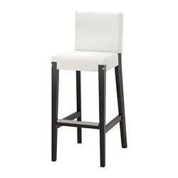 HENRIKSDAL bar stool with backrest frame, dark brown