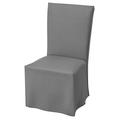 HENRIKSDAL Chair with long cover, white/Risane grey