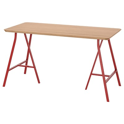 HILVER / LERBERG table bamboo/red 140 cm 65 cm