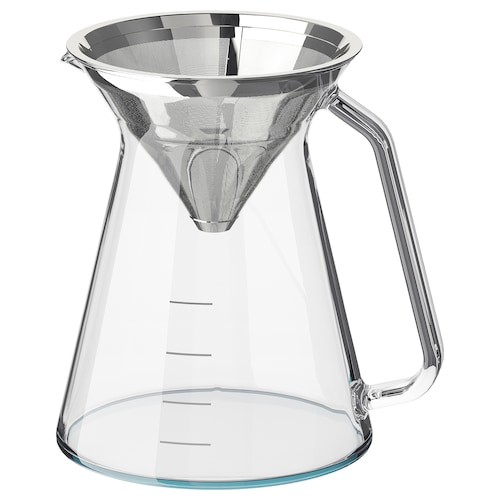 HÖGMODIG coffee maker for drip coffee clear glass/stainless steel 16 cm 0.6 l