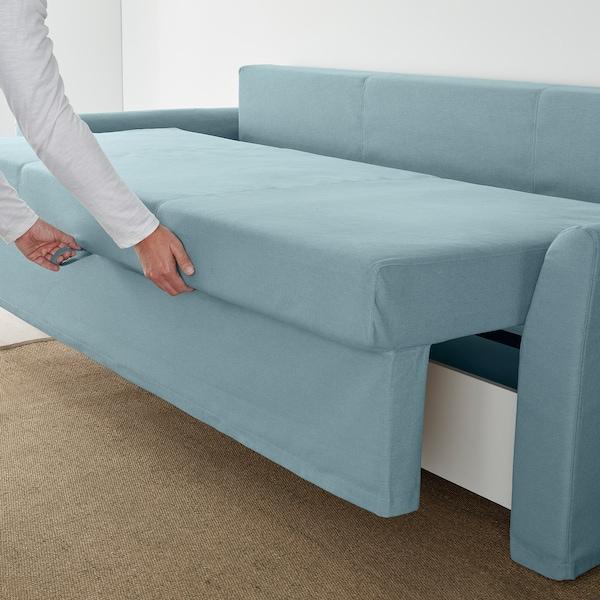 HOLMSUND Three-seat sofa-bed, Orrsta light blue