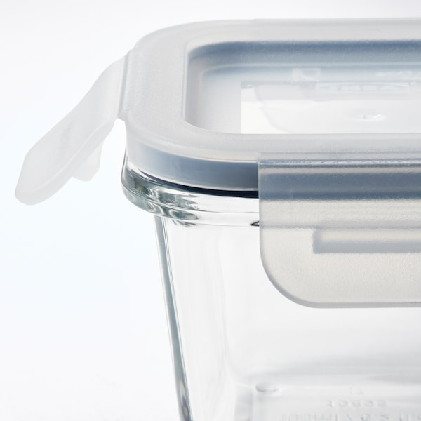 IKEA 365+ Food container with lid, square/glass, 180 ml