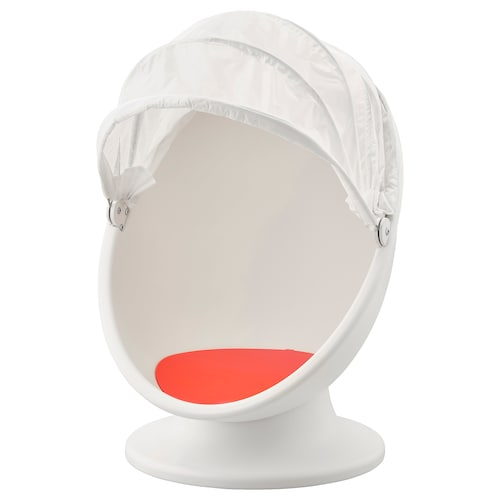 IKEA PS LÖMSK swivel armchair white/red 59 cm 62 cm 75 cm 82 cm 17 cm