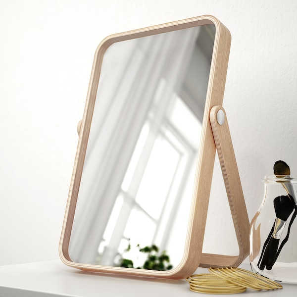IKORNNES Table mirror, ash, 27x40 cm