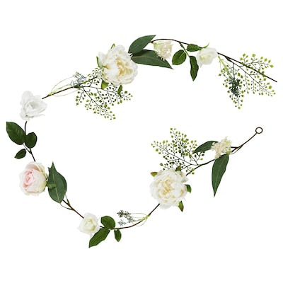 INBJUDEN Artificial garland, Rose/Peony white, 1.5 m
