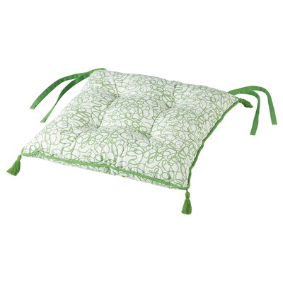INBJUDEN Chair cushion, white/green, 40x40x6.0 cm