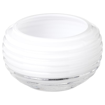 INBJUDEN Tealight holder, glass white, 5 cm