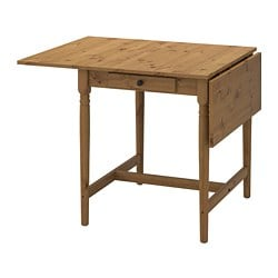 INGATORP drop-leaf table, antique stain