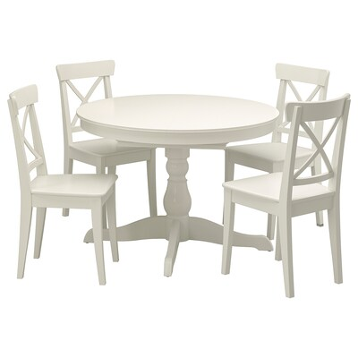 INGATORP / INGOLF Table and 4 chairs, white/white, 110 cm