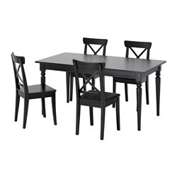 INGATORP /  INGOLF table and 4 chairs, black, brown-black