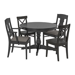 INGATORP /  INGOLF table and 4 chairs, black, Nolhaga grey/beige