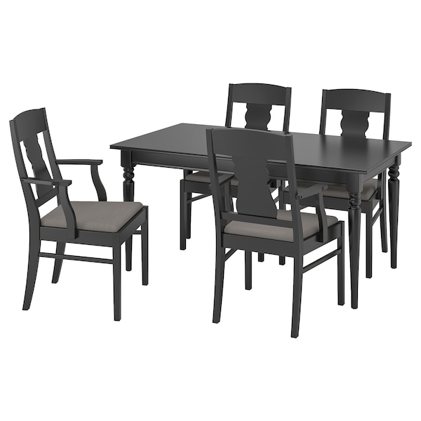 INGATORP Table and 4 chairs, black, 155 cm