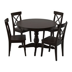 INGATORP table and 4 chairs, black, brown-black