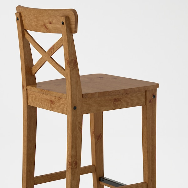 INGOLF Bar stool with backrest, antique stain, 63 cm