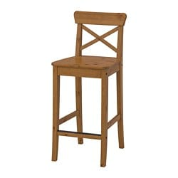 INGOLF bar stool with backrest, antique stain