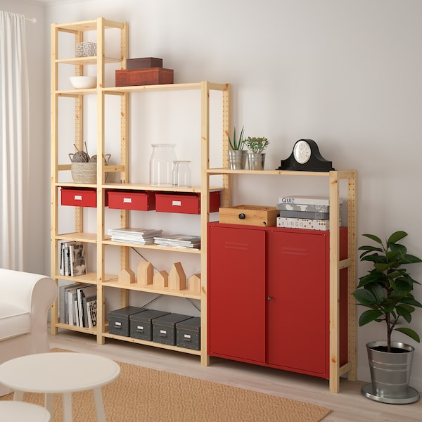 Ivar Shelving Unit W Cabinets Drawers Pine Red Ikea