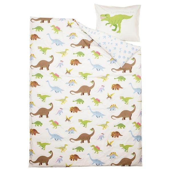 JÄTTELIK Duvet cover and pillowcase, Dinosaurs/white, 150x200/50x80 cm