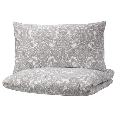 JÄTTEVALLMO Quilt cover and 2 pillowcases, white/grey, 200x230/50x80 cm