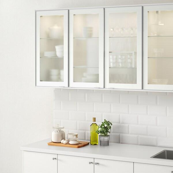 JUTIS Glass door, frosted glass/aluminium, 40x80 cm