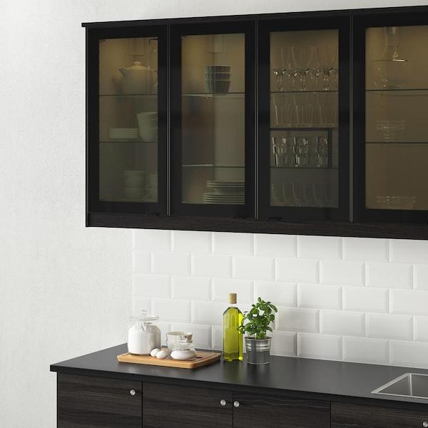 JUTIS Glass door, smoked glass/black, 30x60 cm