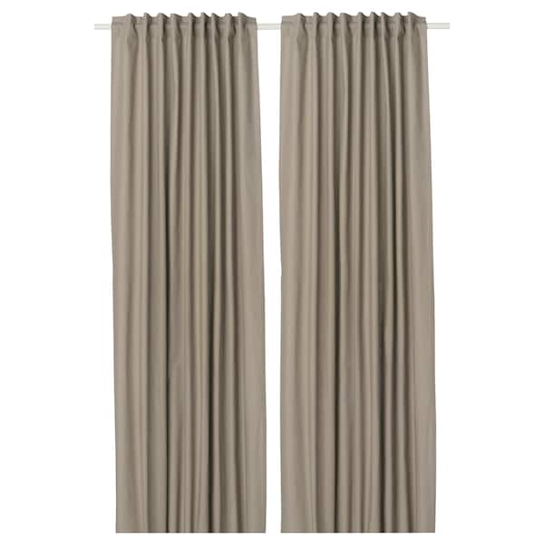 KALKFLY Room darkening curtains, 1 pair, dark beige, 145x250 cm