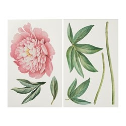 KINNARED decoration stickers, Pink peony