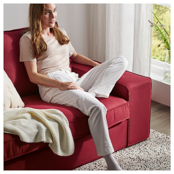 KIVIK 3-seat sofa, with chaise longue/Orrsta red
