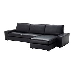 KIVIK 4-seat sofa, Grann with chaise longue, Bomstad Grann/Bomstad black
