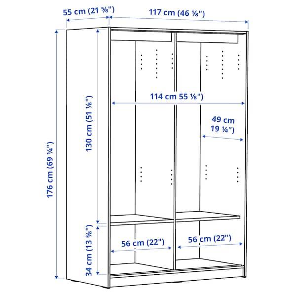 KLEPPSTAD Wardrobe with sliding doors, white, 117x176 cm