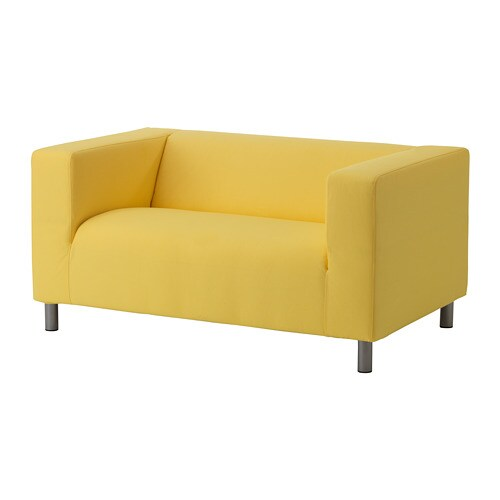 Klippan Cover Compact 2 Seat Sofa Vissle Bright Yellow Ikea