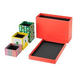 KNALLGUL desk organiser, red, multicolour