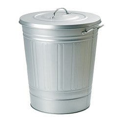 KNODD bin with lid, galvanised