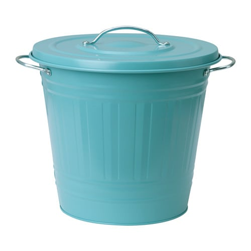 Knodd bin with lid blue 16 l ikea for Ikea trash cans