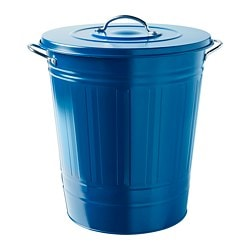 KNODD bin with lid, dark blue