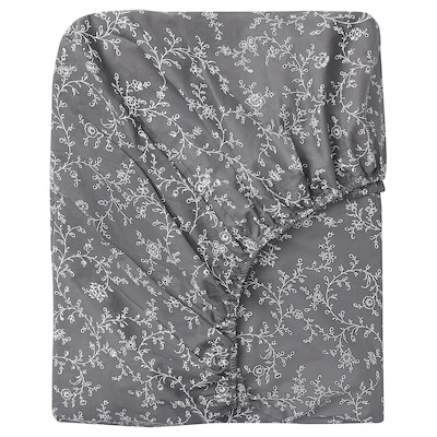 KOPPARRANKA Fitted sheet, floral patterned, 150x200 cm