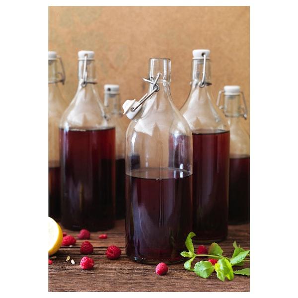 KORKEN bottle with stopper clear glass 29 cm 9 cm 1 l