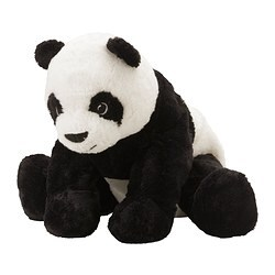 KRAMIG soft toy, white, black