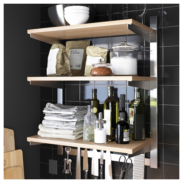 KUNGSFORS susp rail w shelf/mgnt knife rack stainless steel/ash 64 cm 32 cm 80 cm