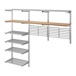 KUNGSFORS suspension rail w shelves/wll grids, stainless steel, ash