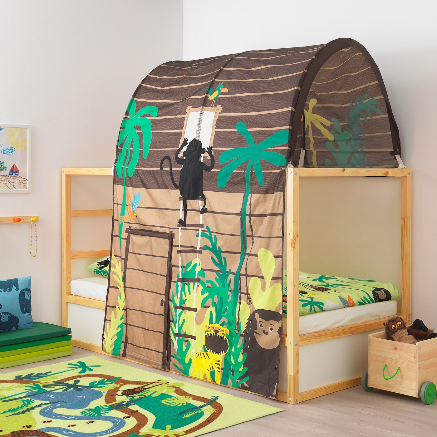 Kura Bed Tent With Curtain Brown Ikea