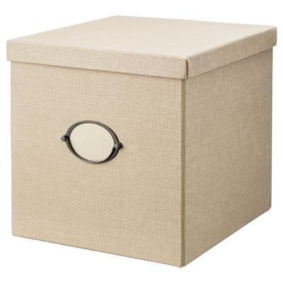 KVARNVIK Storage box with lid, beige, 32x35x32 cm