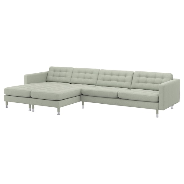LANDSKRONA 5-seat sofa, with chaise longues/Gunnared light green/metal